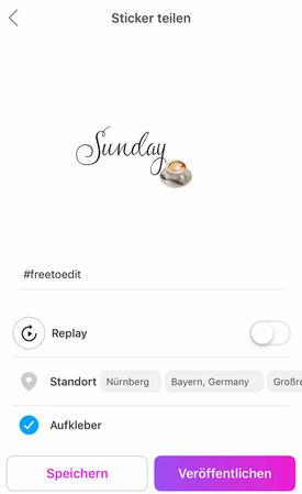 mit PicsArt Instagram Story Sticker speichern