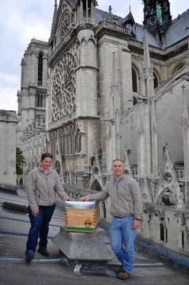 Nicolas Géant et sa collaboratrice apicultrice chargée du suivi de la ruche tout au long de l'année. © NDP