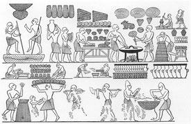 Scènes de fabrication du pain sur la tombe de Ramsès III.