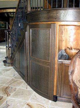 Oak stairway paneling