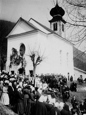 Palmeselprozession zum Romedikirchl, 1910