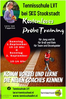 kostenloses Probetraining der Tennisschule LVT beim SKG Stockstadt Tennis