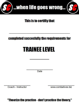 SC Int'l - Street Combatives - Trainee Program Level Certificate