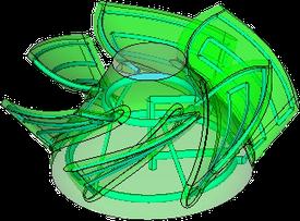 3次元形状で水冷管を配置可能