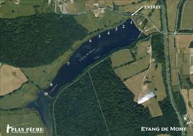 Plan des poste de pêche à la carpe étang de Mont
