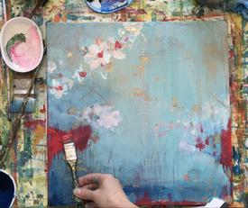 Die Kirschblüten auf Leinwand gemalt