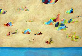 Nine Winderlich, Malerei: Mehrere fröhlich bunt schnatternde Enten liegen im Sand, darunter ist das Wasser.