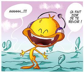 Boo Tchou, canari de la bande dessiné comique et drôle, est content de retrouver ses lecteurs