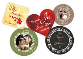 Aufkleber für Liebe, Verlobung, Hochzeit, individualisierbar mit Foto und Wunschtext