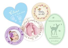 Aufkleber zur Geburt oder Babyshower, individualisierbar mit eigenem Foto und Wunschtext