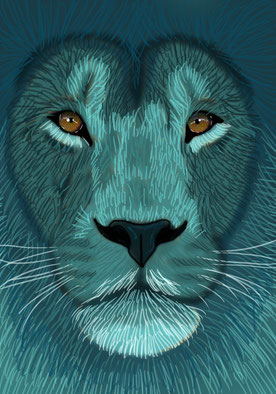Teal Lion - 100x70