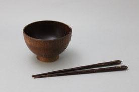 桑の木の汁椀とお箸の修理