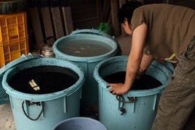 釉薬を合わせている所。釉薬とは石、土、灰、金属などの原料何種類かを混ぜ、焼成に合った温度帯で溶ける様調合した、焼くとガラス質になる陶器に施す物。陶器の強度を上げるコーティングとしての役割もある。