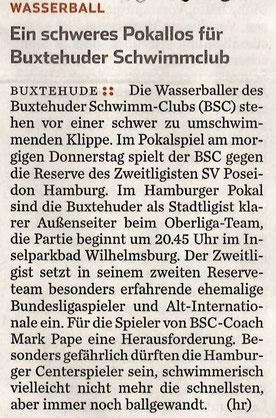 Hamburger Abendblatt vom 18.03.2015: Wasserball/Ein schweres Pokallos für Buxtehuder Schwimm-Club