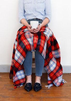 Schottische Knie-Decke aus reiner Schurwolle