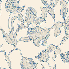 printed designer wallpaper with tulip illustration in colors beige and blue, individual prints for interiors