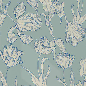 printed designer wallpaper with tulip illustration in colors eclectic blue and turquoise, individual prints for interiors