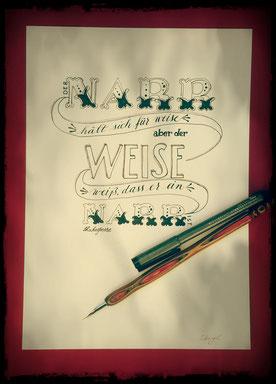 Verwendetes Kalligraphiematerial: Spitzfeder, Eisengallustinte, Copic Fineliner