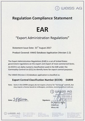 Ear99 WEiss AG Export Administration Regulations