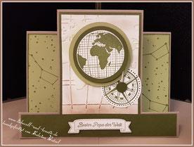 Stampin'Up Karte, Aufstellkarte, Vatertag, Stempelset Liebe ohne Grenzen, Prägefolder Weltkarte