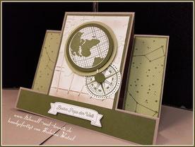 Stampin'Up Karte, Aufstellkarte, Vatertag, Stempelset Liebe ohne Grenzen, Prägeform Weltkarte