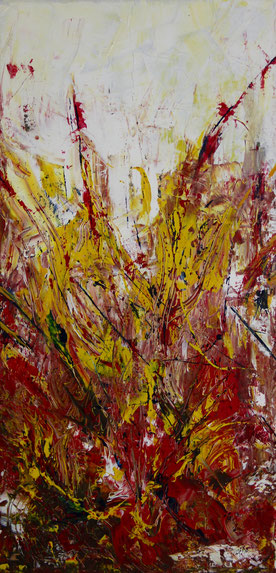 """Magma 2"", Acryl auf Leinwand, 40x80cm"