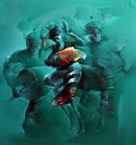 peinture danse, peinture danseurs, danse tribale, Golmei Gandumpu, artist Golmei Gandumpu, danse peinture, danseurs peinture, couple de danseurs en peinture, tableau couple de danseurs, peinture à l'huile achat en ligne, acheter peinture à l'huile