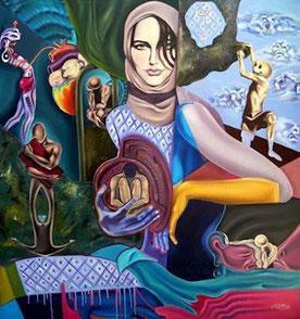 huile sur toile contemporaine, peinture à l'huile sur toile moderne, peinture à l'huile achat, femme surréaliste, peinture onirique, tableau surréaliste, onirisme art, peintures fantastiques, artiste peintre émergent Jared Corletto , nouveau artiste