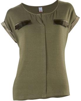 Jerseyshirt mit Längs- & Schulterbetonung sowie Dekor oberhalb der Brust