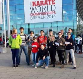 Unser Kirschau Karate-Team bei der Karate-WM der WKF vom 07. bis 09.11.2014 in Bremen