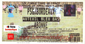 Ticket  PSG-Bordeaux  2002-03