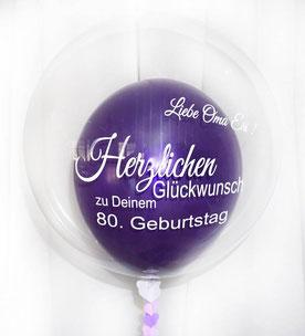 Bubble Ballon Luftballon Herzlichen Glückwunsch Geburtstag Oma Mama Geschenk beschriftet Helium Heliumballon personalisiert individuell Namen Versand Wunschbubble 30 40 50 60 70 80 90 100