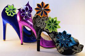 Schuhclips, shoe clips, Kanzashi, schuh clip, clip, accessoire, schuhschmuck, schmuck, damenschmuck, unikatschmuck, unikat, hochzeit, heirat, dekoration, frauenschmuck