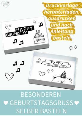 Geburtstagsgrüße, Karten basteln, Karten selber machen, Geburtstag, Geburtstagswünsche, Sprüche, Freundschaft, diy, Papier, Matchbox, Streichholzschachtel, originelles zum Geburtstag