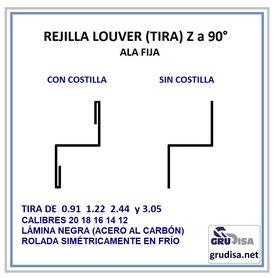 REJILLA LOUVER Z a 90° (TIRA) ESPECIFICACIONES