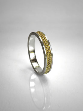 Wedding ring braid, rope, silver and yellow gold - Nelly Chemin