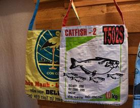 フラミンゴと魚のトートバッグ