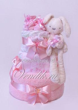 """© Торт из памперсов VIP """" Беленький крольчонок"""" для девочки"""