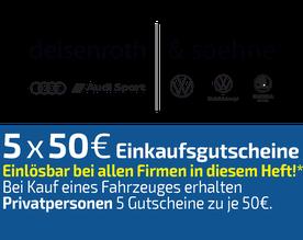 5x50 EURO Einkaufsgutschein, Deisenroth Alsfeld, Audi, Volkswagen, Skoda