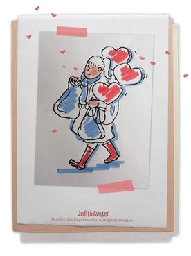 Zeichung Frau Valentinstag Herzluftballons - Judith Ganter - Illustriertes Kopfkino für Alltagsoptimisten - Tagebuchprojekt Achtsamkeit - 9 KREATIVE IDEEN FÜR MEHR ACHTSAMKEIT IN DEINEM ALLTAG - INSPIRATION FÜR DEIN EIGENES TAGEBUCH - Tipps für Einsteiger