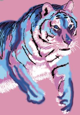 Pink Tiger - 100x70 cm