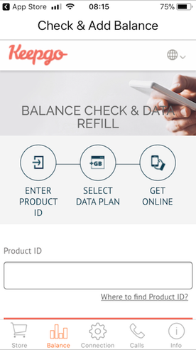 keepgo global sim card app to check and add balance