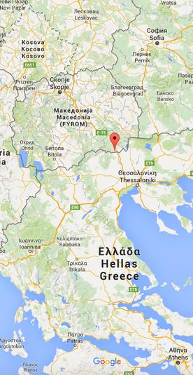 Die rote Markierung zeigt den Grenzort Gevgelija