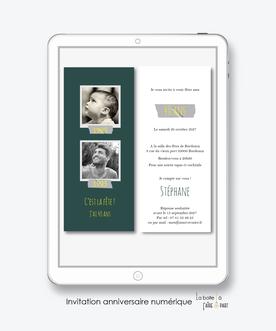 Invitation anniversaire homme numérique-Invitation électronique-Invitation digitale-imprimable-pdf numérique-Invitation connecté-Invitation anniversaire à envoyer par mms-par mail-réseaux sociaux-whatsapp-facebook-Photo naissance et maintenant-polaroid