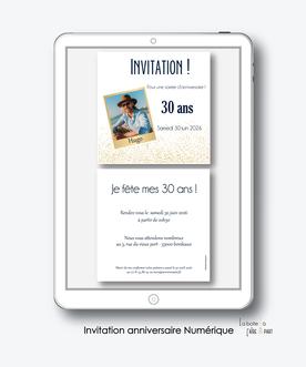Invitation anniversaire homme numérique-Invitation électronique-Invitation digitale-pdf numérique-Invitation connecté-Invitation anniversaire à envoyer par mms-par mail-réseaux sociaux-whatsapp-facebook-photo polaroid-paillette-doré-format carré