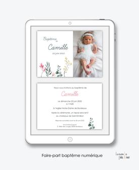 faire-part baptême fille numérique-faire part baptême électronique-faire part numérique-pdf imprimable-pdf numérique-faire part connecté-faire-part à envoyer par sms-mms- par mail- par réseaux sociaux-eucalyptus-champêtre-photo-