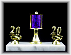 "Single Column Trophy with Riser and Trim, 7.5"" Base"