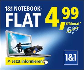Die 1 & 1 Notebook Flat trotz Schufa ist ideales Internet trotz Schufa Eintrag