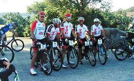 Nos cinq coureurs au départ...