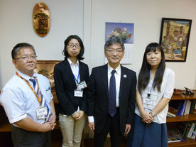 (From the left) Mr. NAKAMURA, Dr. DAIMON, Mr. SOBASHIMA, Dr. NARISAWA
